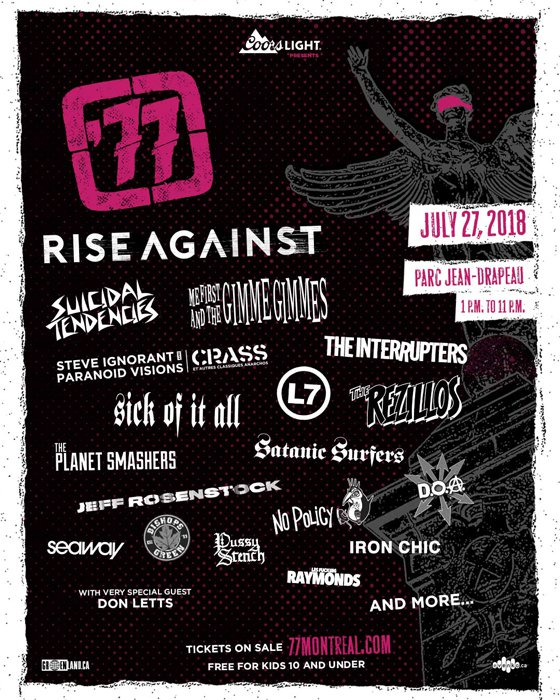 '77 Montreal Reveals 2018 Lineup with Rise Against, Suicidal Tendencies, L7