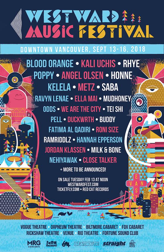 Vancouver's Westward Music Festival Reveals 2018 Lineup with Blood Orange, Kali Uchis, Rhye