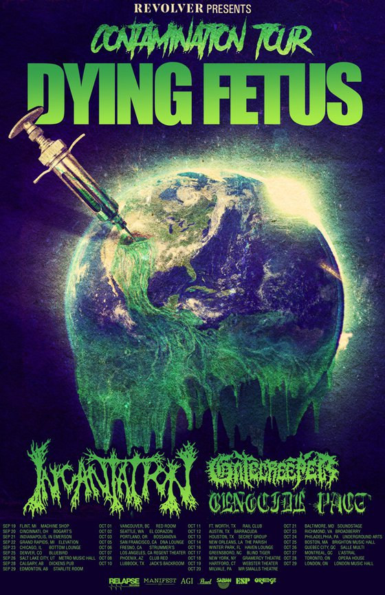 "Dying Fetus Unveil ""Contamination Tour"" with Incantation, Gatecreeper"