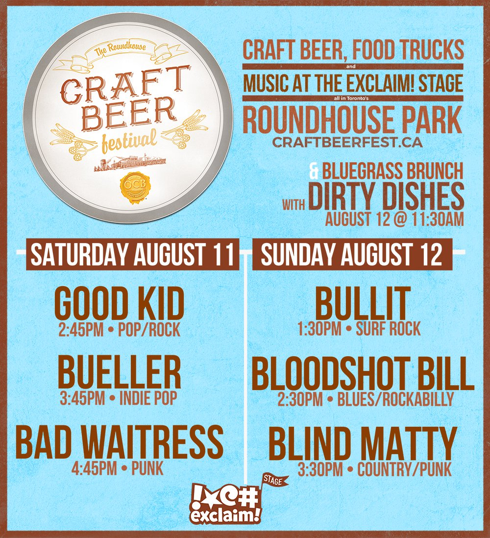 Bad Waitress, Blind Matty, Bloodshot Bill to Play Exclaim! Stage at the Roundhouse Craft Beer Festival