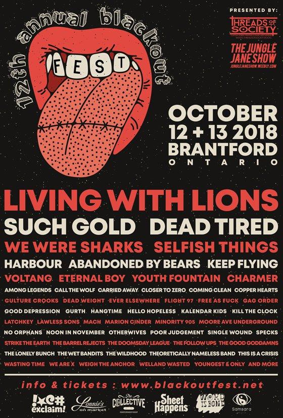 Brantford's Blackout Fest Reveals 2018 Lineup