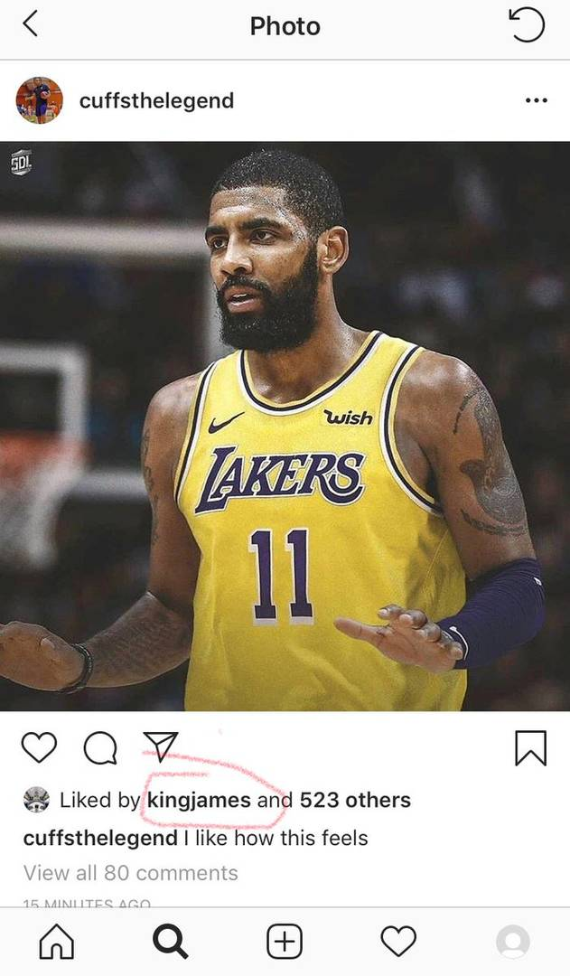 LeBron James Is A Fan Of This Kyrie Irving x Lakers Photoshop
