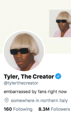 """Tyler, The Creator Changes Twitter Bio To Reflect How """"Embarrassed"""" He Is Of Fans"""