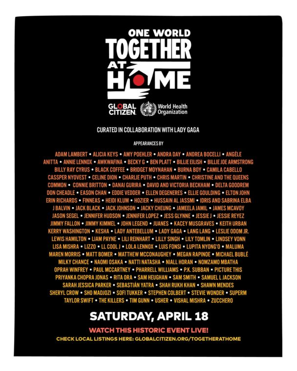 Watch The One World: Together At Home Coronavirus Benefit Livestream