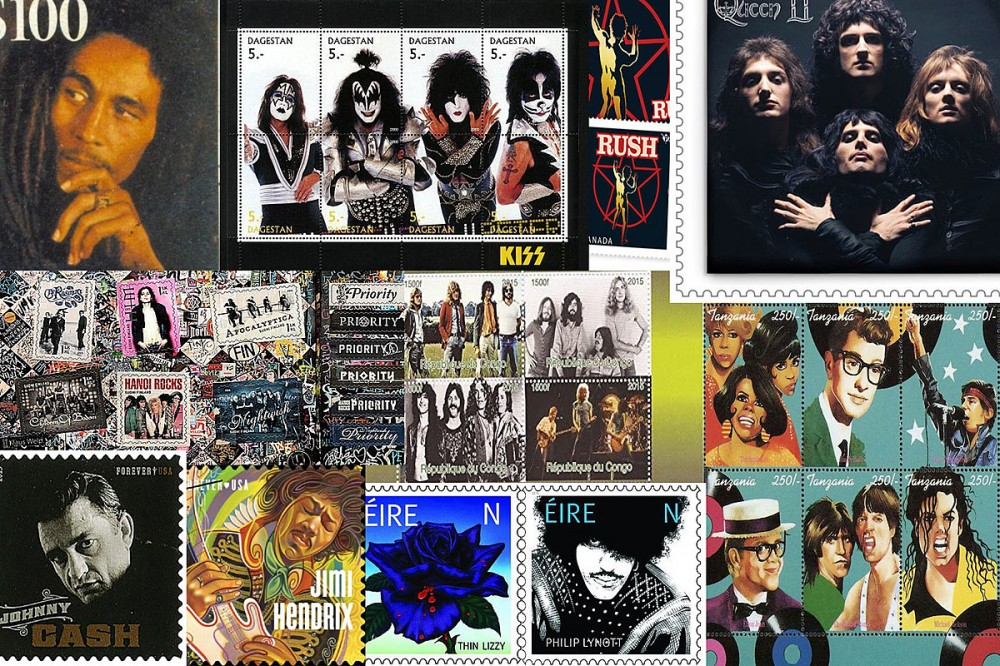 24 Rock + Metal Postage Stamps