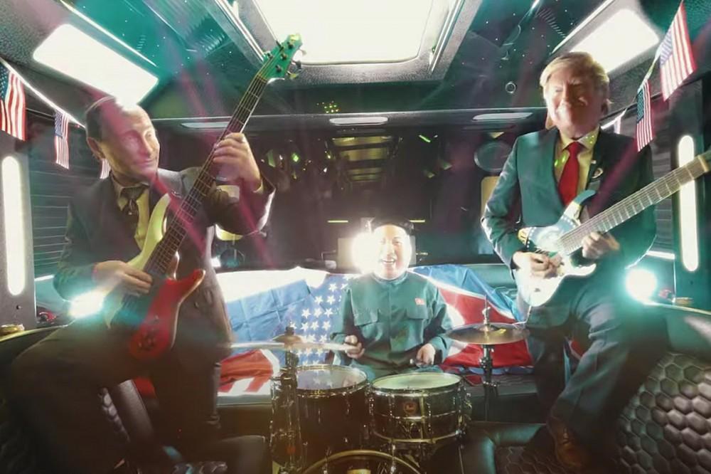Putin, Trump + Kim Jong-Un Unite as Instrumental Shred Band Nuclear Power Trio