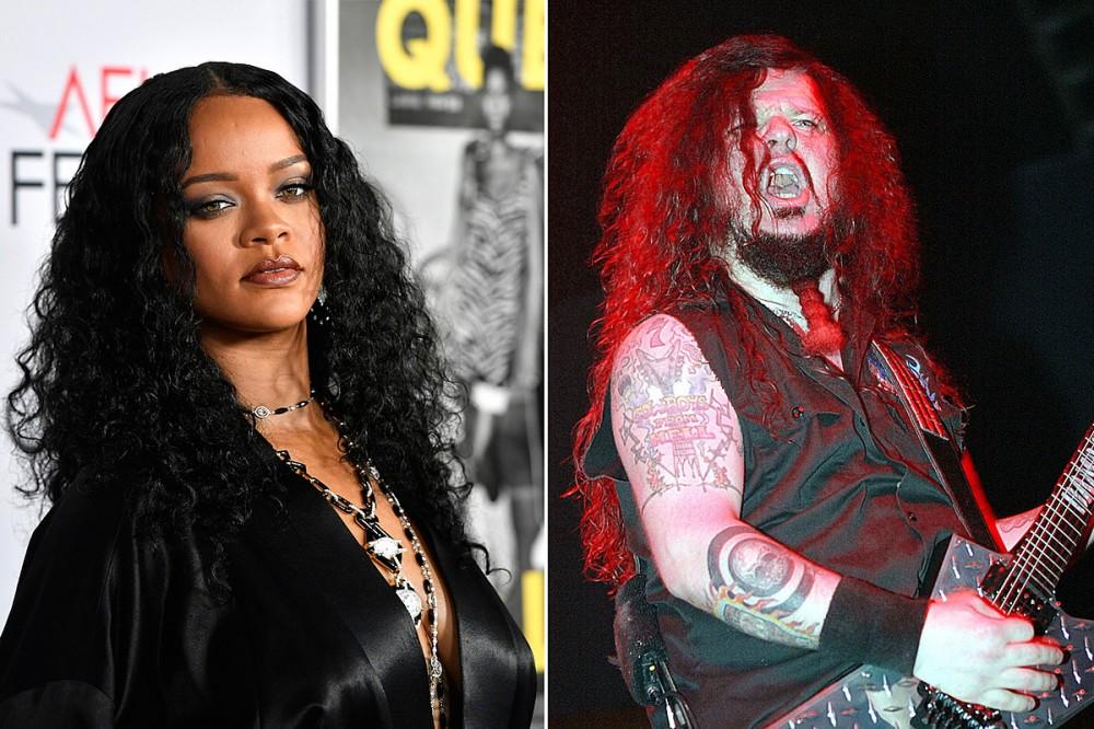 Rihanna Sports Metal Look With Pantera Shirt + Mullet