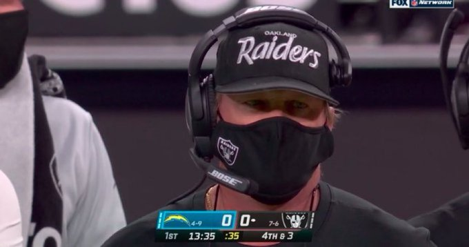 SOURCE SPORTS: Raiders Head Coach Jon Gruden Mistakenly Wears Oakland Raiders Hat During Thursday Night Football