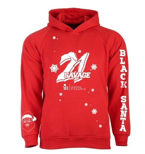 21 Savage and Black Santa Launch Limited Edition Christmas Hoodie for Leading By Example Foundation