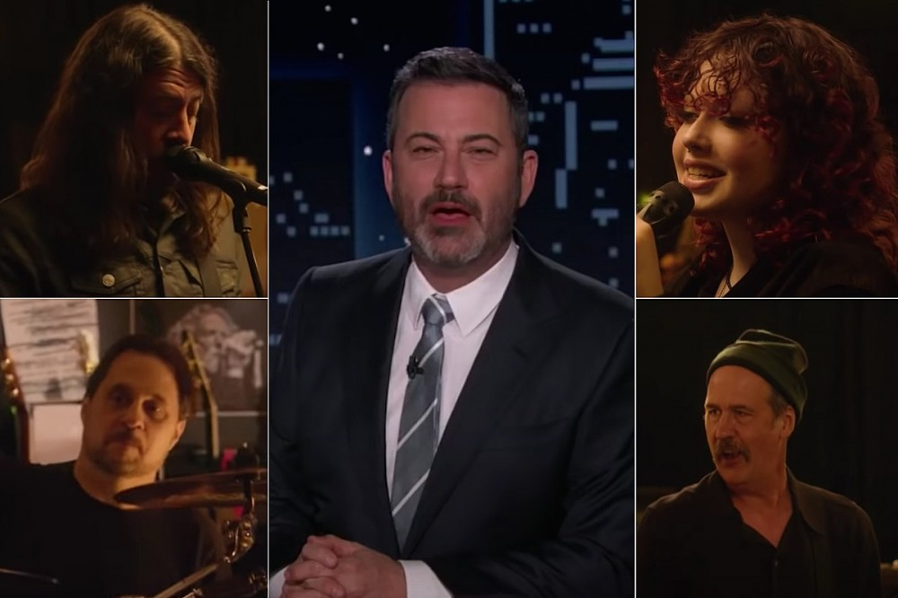 Dave Grohl + Daughter Violet, Dave Lombardo, Krist Novoselic Play Classic Punk Cover on 'Kimmel'