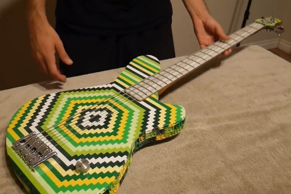 Bass Guitar Made Out of 2,000 Lego Bricks Actually Plays